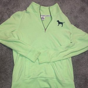 VS PINK green quarter zip